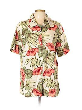 Lemon Grass Short Sleeve Button-Down Shirt Size 20 (Plus)