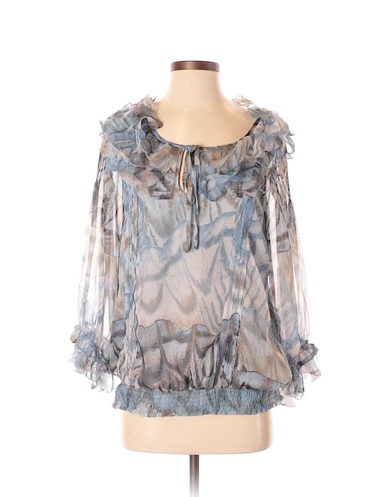 Blue Velvet Women Long Sleeve Blouse Size S