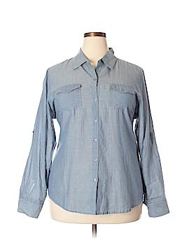Magazine Long Sleeve Button-Down Shirt Size 3X (Plus)