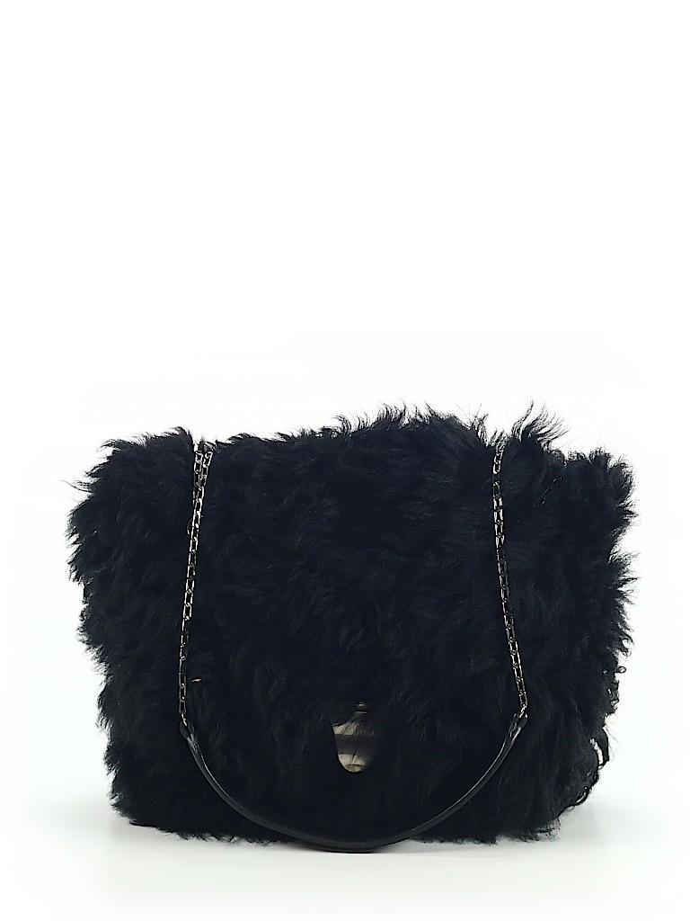 Céline 100% Shearling Solid Black Leather Shoulder Bag One Size - 80 ... 458046d0b8e23