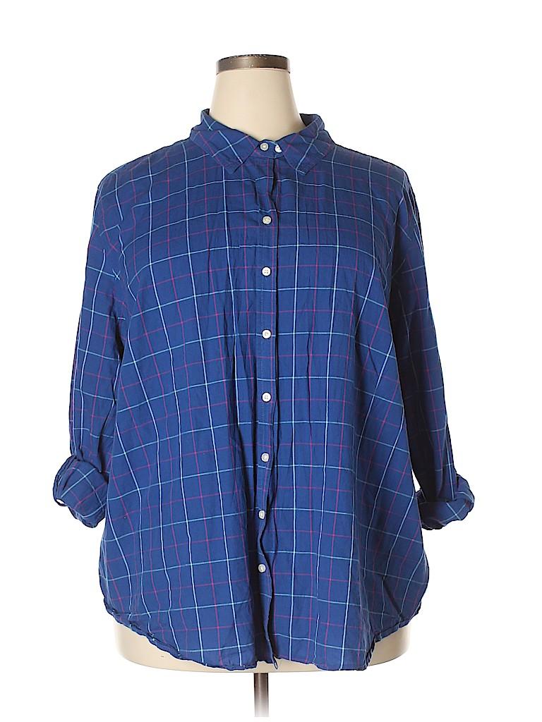 Merona Women Long Sleeve Button-Down Shirt Size 4 (Plus)