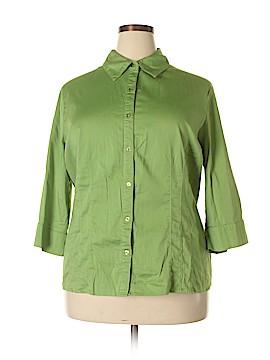 Essentials 3/4 Sleeve Button-Down Shirt Size 3X (Plus)
