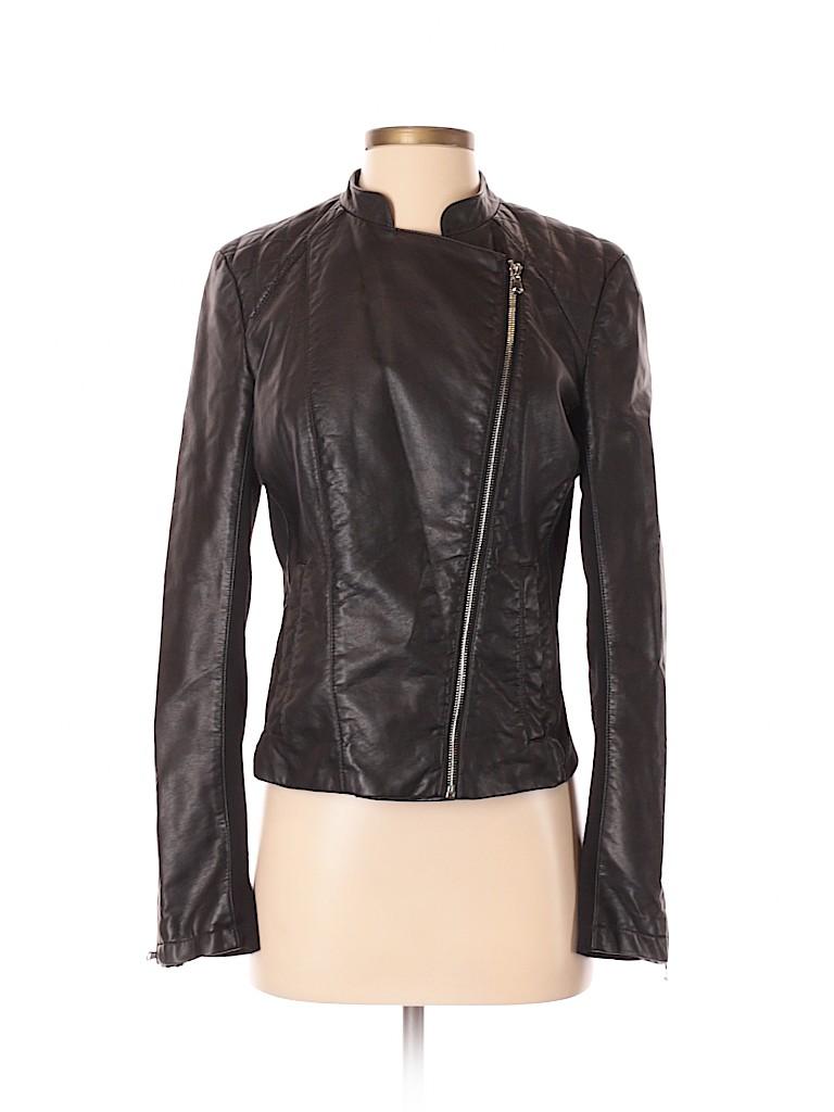 INC International Concepts Women Faux Leather Jacket Size 5