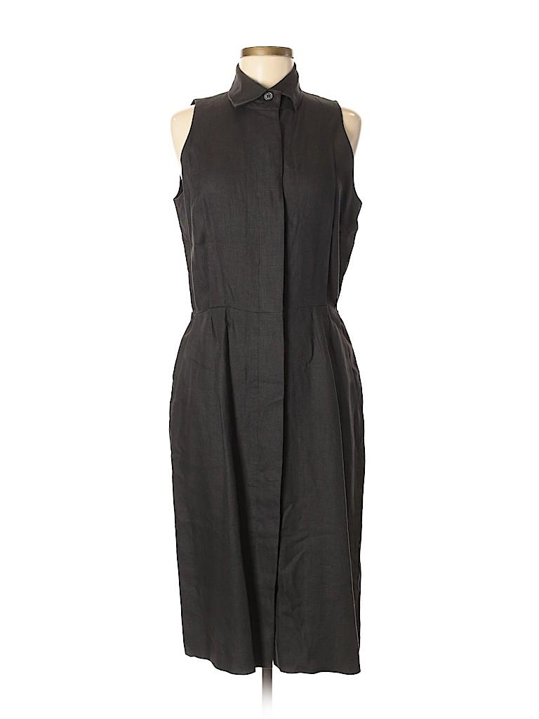 0d99c5431ee4 Lauren Alexandra 100% Linen Solid Gray Casual Dress Size 12 - 71 ...