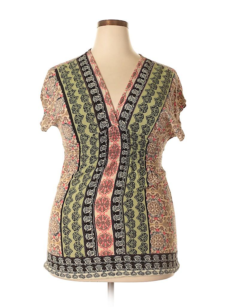 4ed082cc0dd3f Angie 100% Rayon Print Tan Short Sleeve Blouse Size XL - 61% off ...