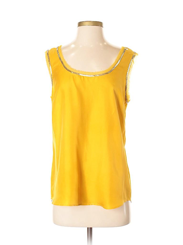 98b3596937379 Ann Taylor LOFT 100% Silk Solid Yellow Sleeveless Blouse Size S - 78 ...