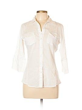 Sandra Ingrish 3/4 Sleeve Button-Down Shirt Size L