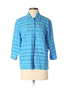 Draper's & Damon's 3/4 Sleeve Button-Down Shirt Size M