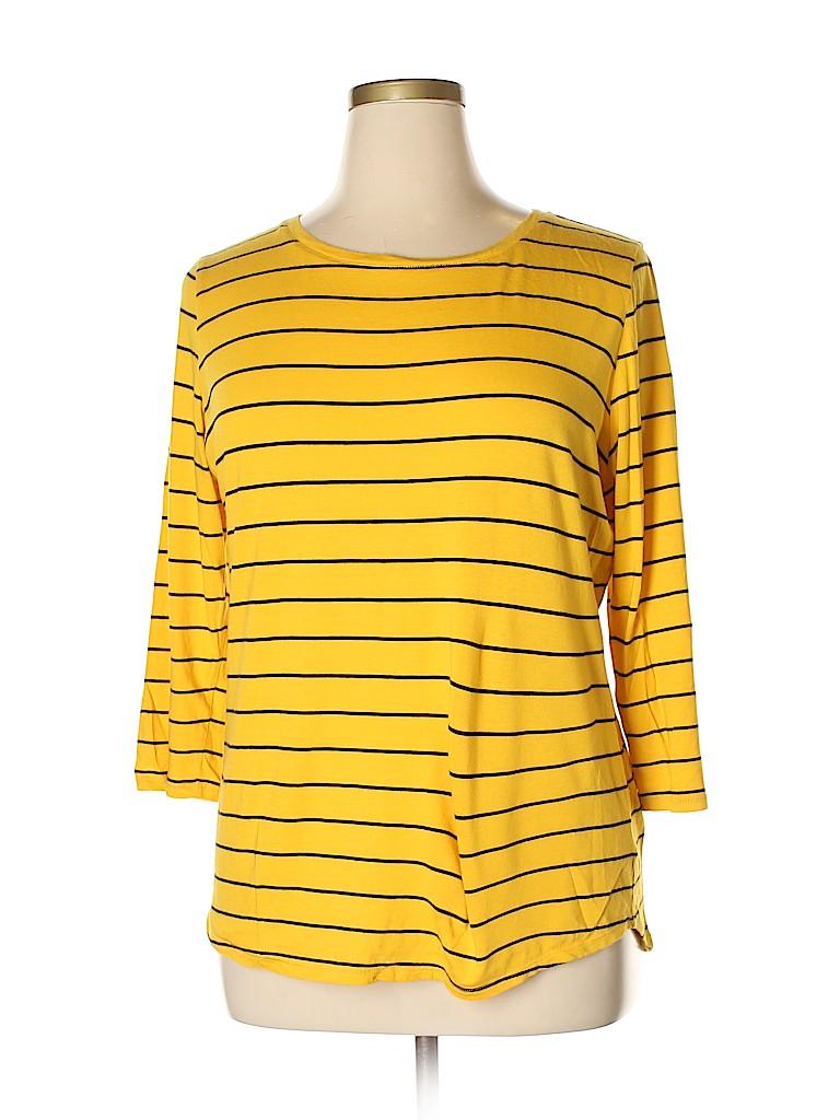 2218fa319154d Liz Claiborne Stripes Yellow 3 4 Sleeve T-Shirt Size XL (Tall) - 60 ...