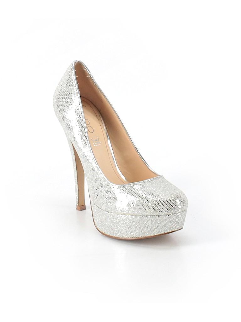638069286ae Aldo Solid Silver Heels Size 37 (EU) - 64% off