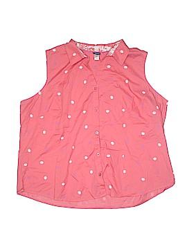 Basic Editions Sleeveless Button-Down Shirt Size 3X (Plus)