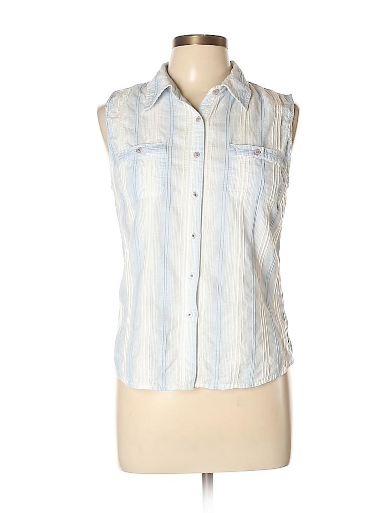 French Cuff Women Sleeveless Button-Down Shirt Size M