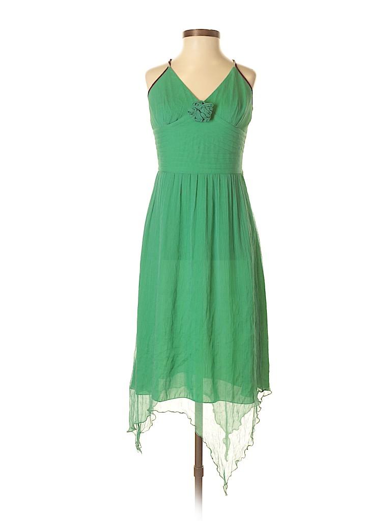 7e93553ecab Diane von Furstenberg 100% Silk Solid Green Casual Dress Size 6 - 82 ...