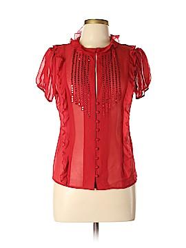 Arden B. Short Sleeve Silk Top Size L