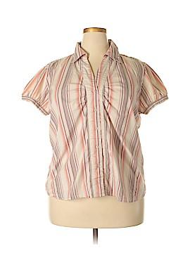 Essential DCC Missy Short Sleeve Button-Down Shirt Size 1X (Plus)