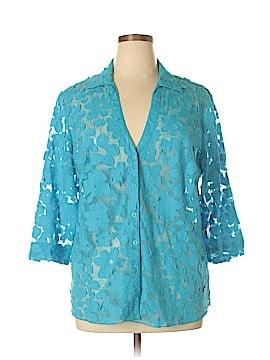 MULTIPLES 3/4 Sleeve Button-Down Shirt Size 1X (Plus)