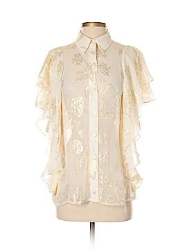 Badgley Mischka Short Sleeve Silk Top Size S