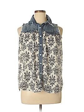 Papillon Sleeveless Button-Down Shirt Size L