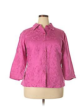 Kasper 3/4 Sleeve Button-Down Shirt Size 18 (Plus)