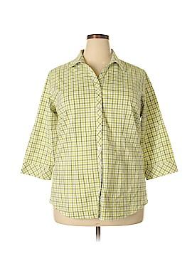 Caralase 3/4 Sleeve Button-Down Shirt Size 2X (Plus)