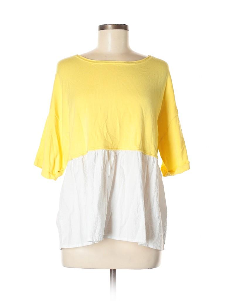 0fb22041 Zara Solid Yellow Short Sleeve Top Size M - 50% off | thredUP