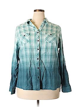 Tantrums Long Sleeve Button-Down Shirt Size 2X (Plus)