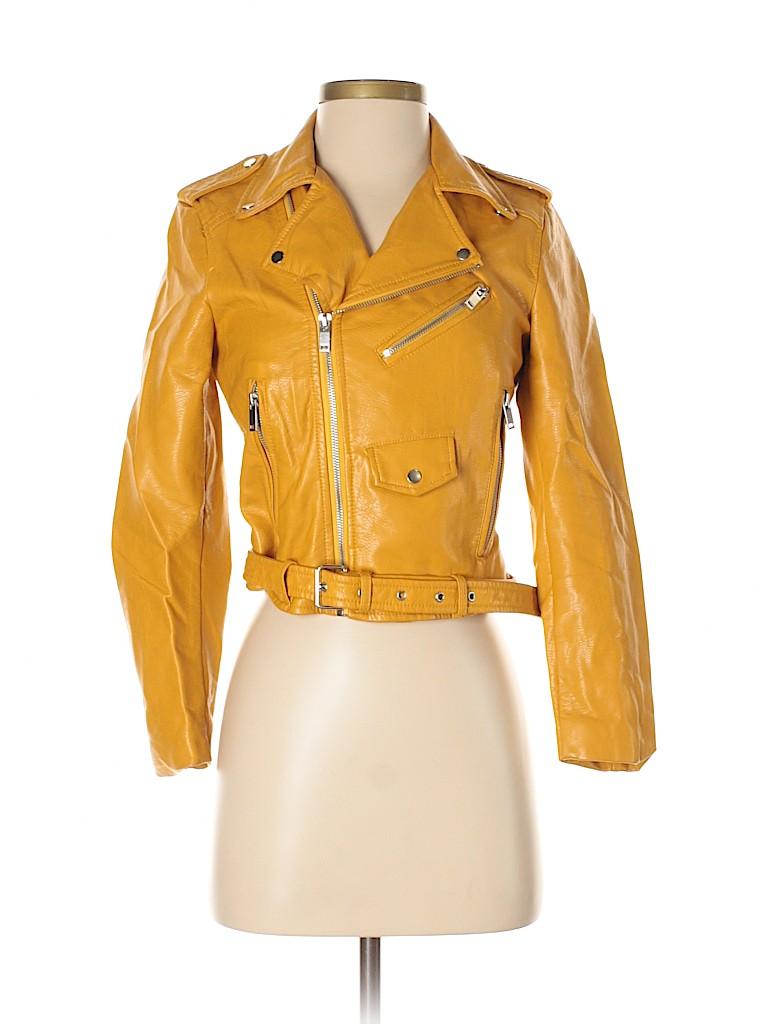 Zara Basic Women Faux Leather Jacket Size XS