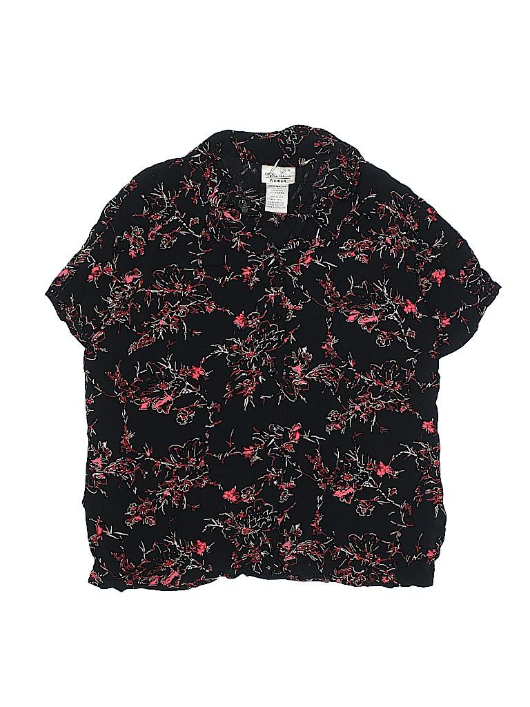 2747cd8f Kathie Lee 100% Rayon Floral Black Short Sleeve Blouse Size 18 (Plus ...