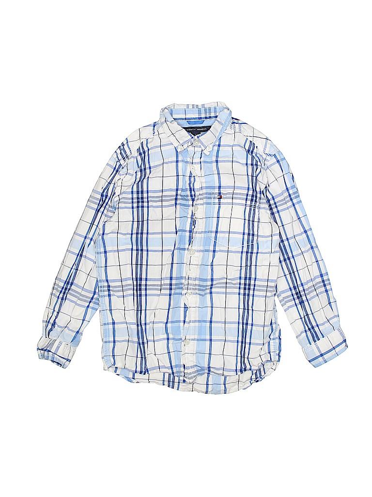 7f9bd308 Tommy Hilfiger 100% Cotton Plaid Dark Blue Long Sleeve Button-Down ...