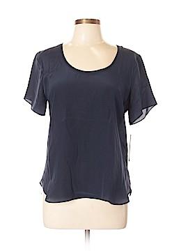 Aqua Short Sleeve Silk Top Size L