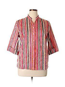 Koret 3/4 Sleeve Button-Down Shirt Size L (Petite)