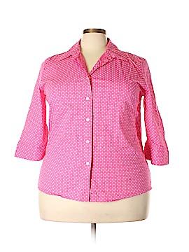 Kim Rogers 3/4 Sleeve Button-Down Shirt Size 1X (Plus)