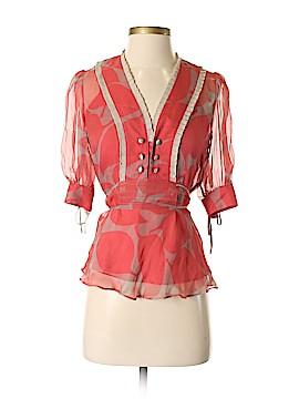 Development By Erica Davies 3/4 Sleeve Silk Top Size 2