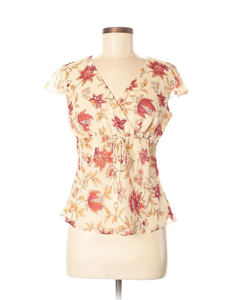 10b734d5b0246 Ann Taylor LOFT 100% Silk Floral Beige Short Sleeve Silk Top Size 8 ...