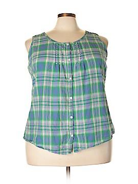 Fashion Bug Sleeveless Button-Down Shirt Size 2X (Plus)