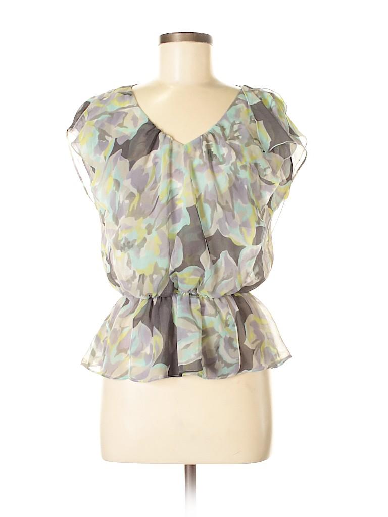 Ann Taylor Loft 100 Polyester Floral Gray Short Sleeve