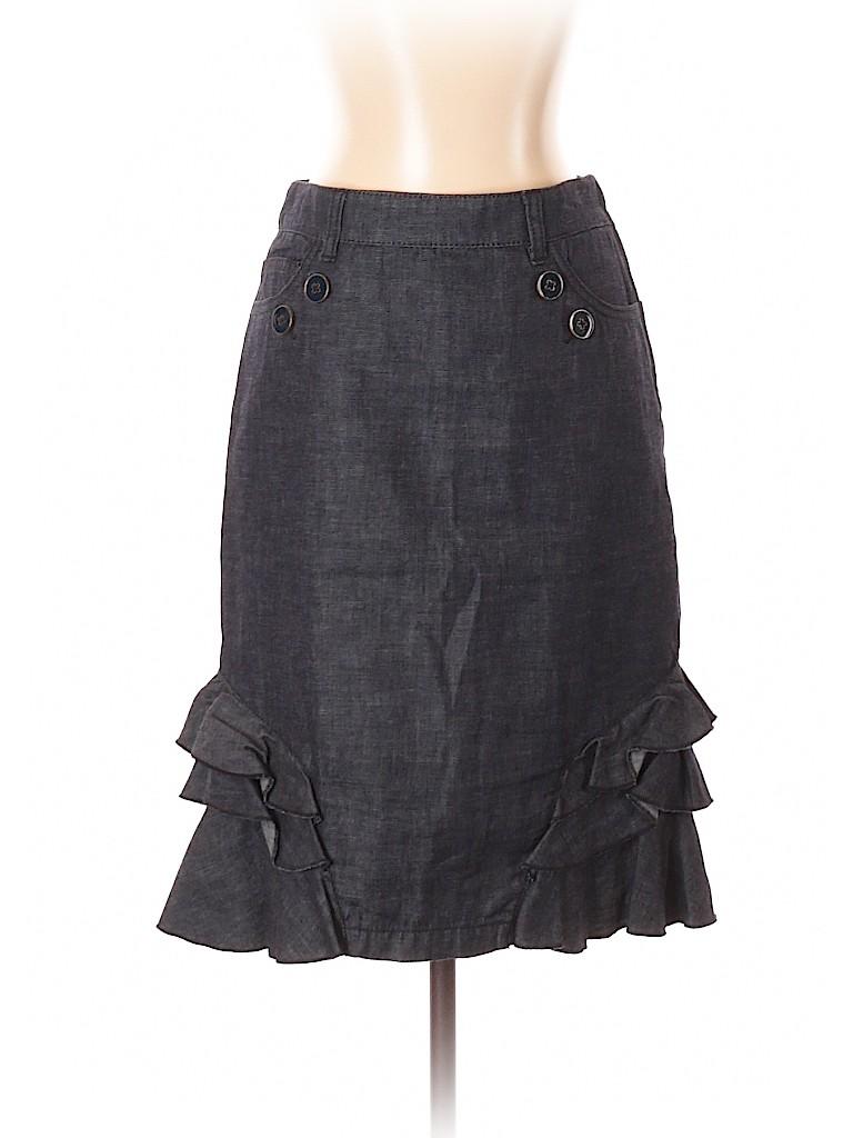 e3e712583b1 Pilcro and The Letterpress 100% Cotton Solid Navy Blue Denim Skirt ...