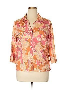 Liz & Co 3/4 Sleeve Button-Down Shirt Size 1X (Plus)