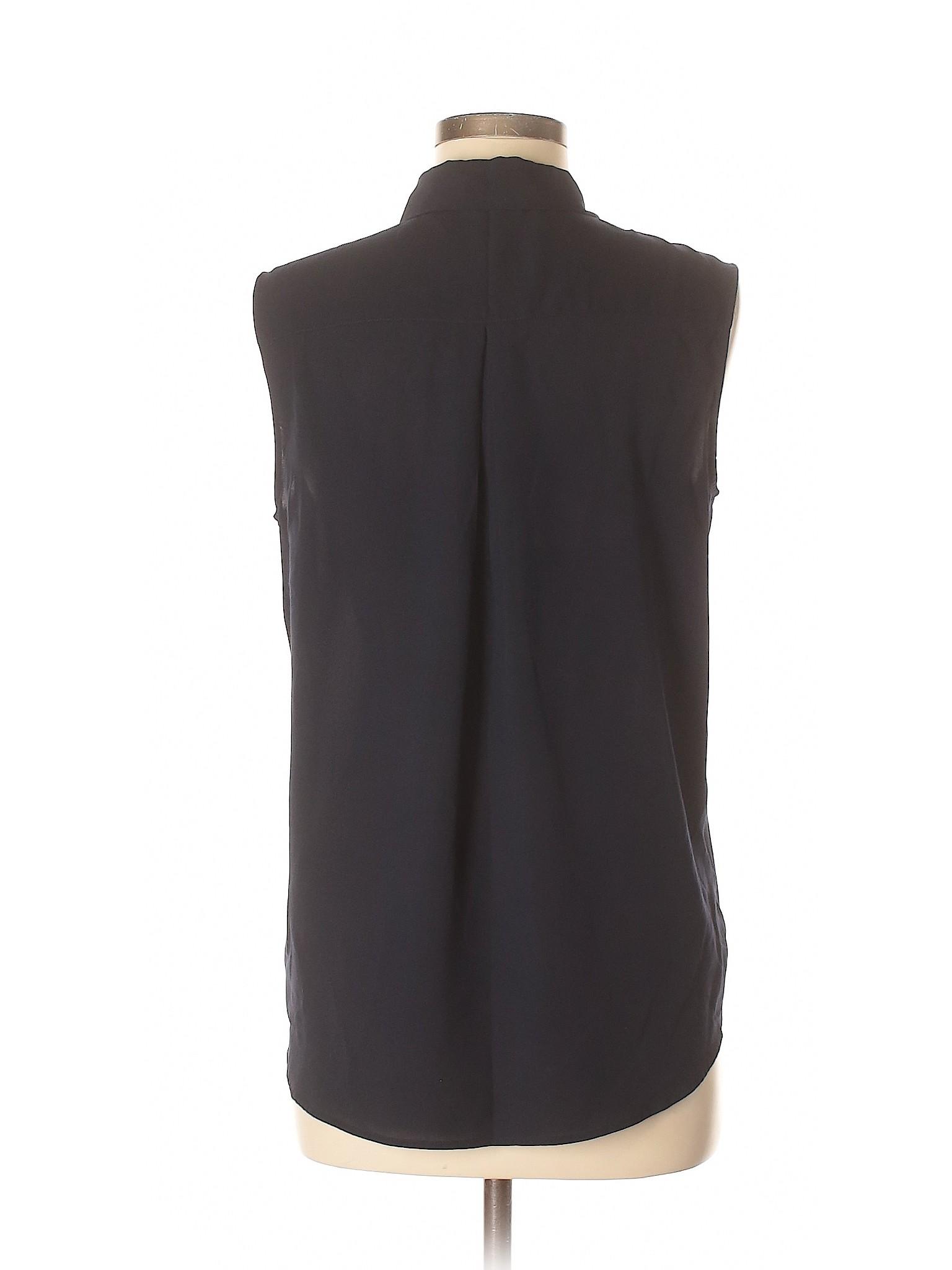 6492a6221f7b64 Uniqlo Solid Dark Blue Sleeveless Blouse Size M - 66% off