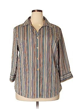Elementz 3/4 Sleeve Button-Down Shirt Size 1X (Plus)