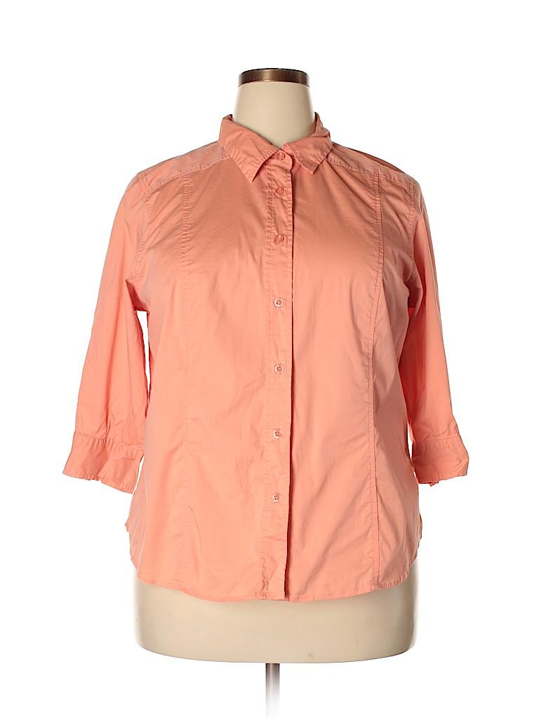 Avenue Women 3/4 Sleeve Button-Down Shirt Size 18 - 20 Plus (Plus)