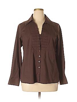 Du Jour Long Sleeve Button-Down Shirt Size 1X (Plus)