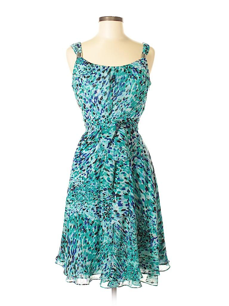 6fa9504c2a2e White House Black Market 100% Polyester Print Blue Casual Dress Size ...