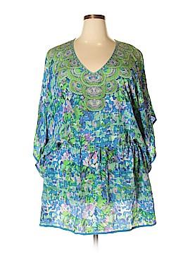 Tolani 3/4 Sleeve Silk Top Size 2X (Plus)