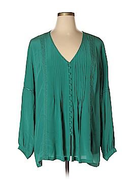 Soft Surroundings Long Sleeve Silk Top Size 2X (Plus)