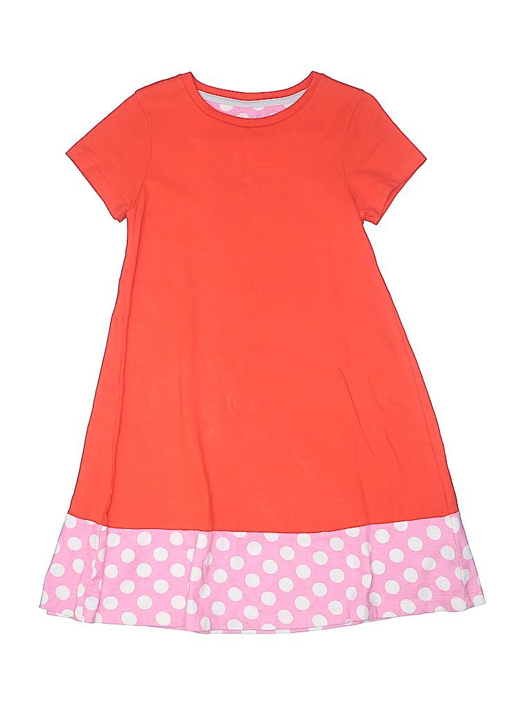 74005d0db7 Mini Boden 100% Cotton Polka Dots Color Block Orange Dress Size 9 ...