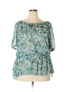 Aqua Blues Short Sleeve Blouse Size 2X (Plus)