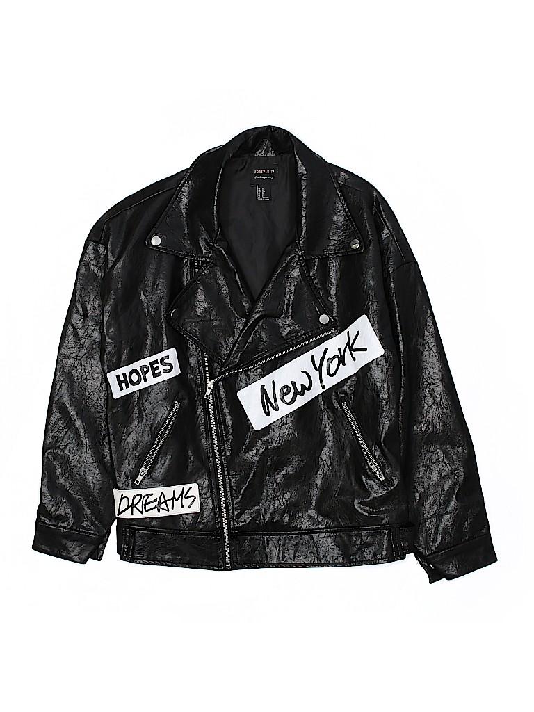 0b36324cb4f Forever 21 100% Polyurethane Print Black Faux Leather Jacket Size S ...
