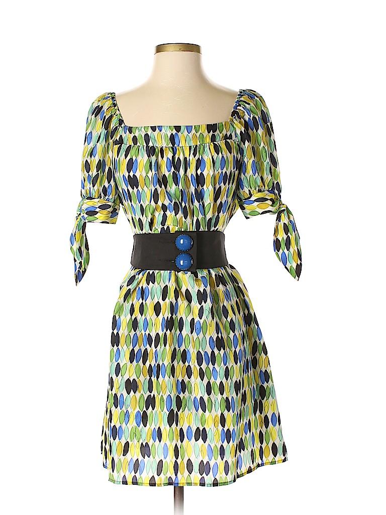 00f86c72bf18 Nanette Lepore 100% Silk Print Green Casual Dress Size 4 - 83% off ...