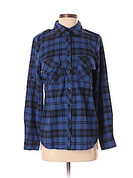 Allegra K Long Sleeve Button-Down Shirt Size S